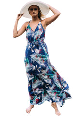 Blue Tropical Leaf Print Sexy Boho Dress - ONLINE WOMEN BOHO DRESSES