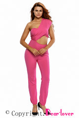 Bright Pink One-shoulder Jumpsuit - Online Women Daily New