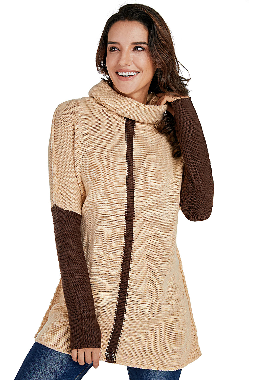 Brown Apricot Individual Cowl Neck Pullover Sweater