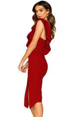 Burgundy Asymmetric Ruffled One Shoulder Midi Dress