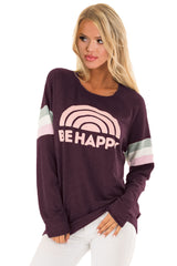 Burgundy Be Happy Graphic Sweatshirt
