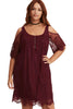 Burgundy Plus Size Lace Cold Shoulder Trapeze Dress