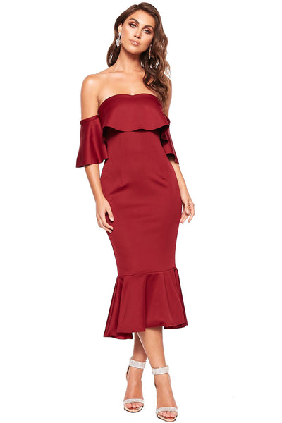 Burgundy Sexy Off Shoulder Ruffled Cocktail Dress