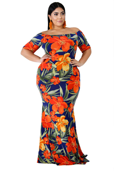 California Poppy Mermaid Plus Size Dress