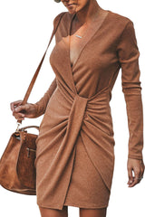 Camel Long Sleeve Ribbed Twist Mini Dress