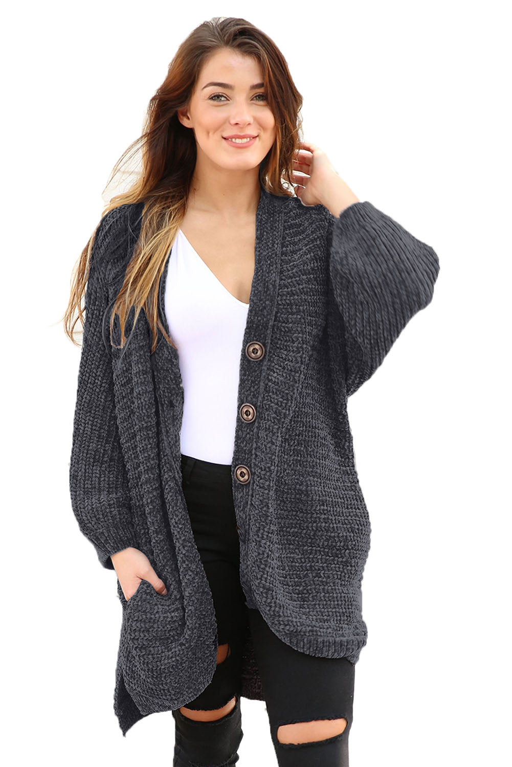 Charcoal Chenille Buttoned Sweater Cardigan