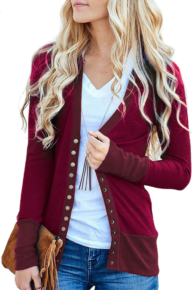 Claret 3/4 Sleeve Snap Cardigan