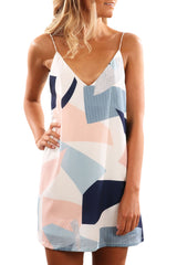 Color Block Geometric Print Short Dress - ONLINE WOMEN BOHO DRESSES