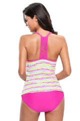 Colorful Polka Dot Rosy 2pcs Tankini Swimsuit - Online Women TANKINIS
