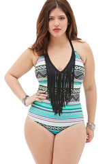 Colorful Print Fringe One-piece - Online Women Plus Size Swimwear