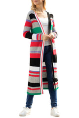 Colorful Striped Open Front Long Cardigan