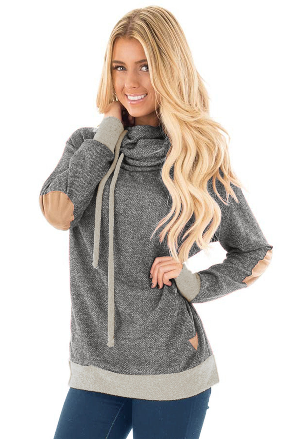 Contrast Patch Detail Gray Cowl Neck Sweatshirt