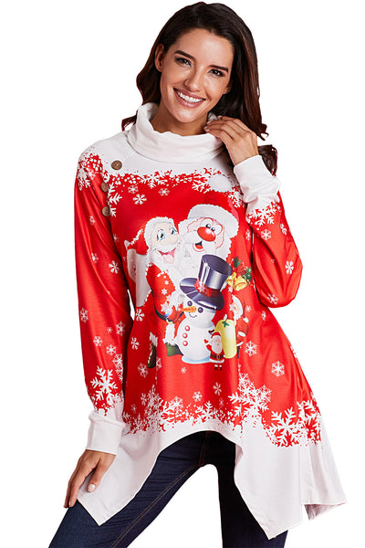 Cowl Neck Santa Claus Snowman Xmas Tunic Top