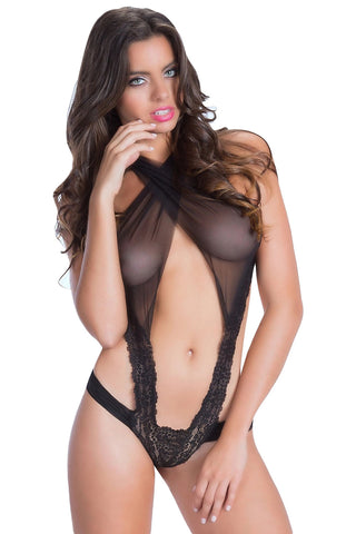 Criss Cross Mesh Blend Lace Teddy - Online Women TEDDIES LINGERIE