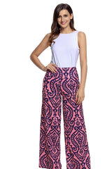 Damask Print Pink Palazzo Pants - Online Women Pants & Culotte Dress
