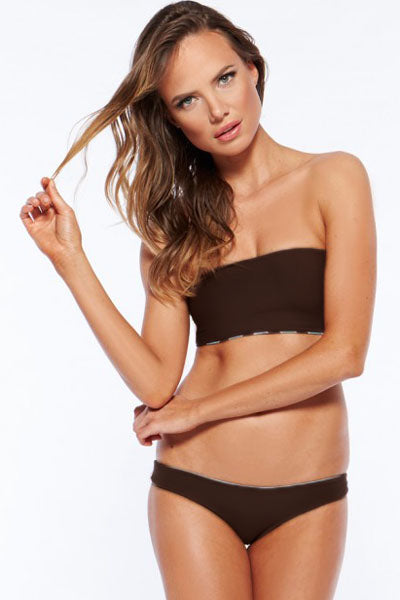 Fashion Summer Brown Bandeau Bikini Swimwear - Online Women Daily New
