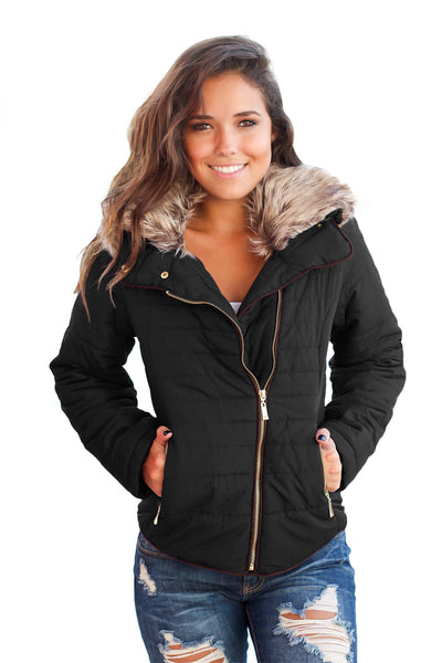 Faux Fur Collar Trim Black Quilted Jacket