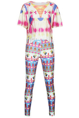 Floral Print Fashion Tassel 2pcs - Online Women Pant Sets
