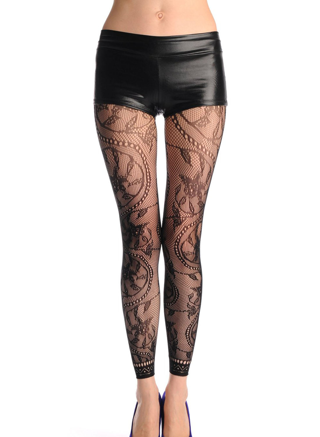 Flower Pattern High Waist Footless Lace Trim Pantyhose - Online Women PANTYHOSE