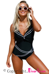 Girly Sailor Lace Up Back One Piece Bathing Suit - Online Women ONE PIECE SWIMWEAR