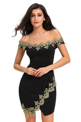 Gold Lace Applique Off Shoulder - Online Women Mini Dress