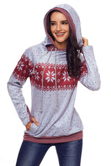 Double Hood Snowfall Print Sweatshirt - Online Women SWEATERS  & HOODIES