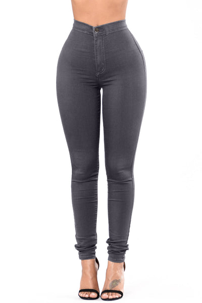 Gray High Waist Skinny Jeans with Round Pockets
