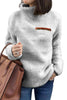 Gray Plush Pullover Stand Collar Sweatshirt