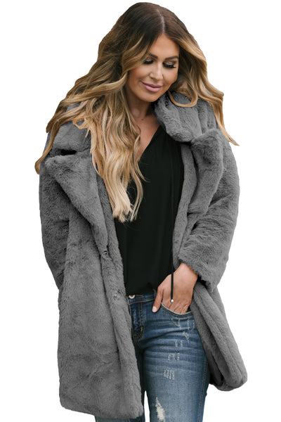 Gray Pocketed Faux Fur Longline Coat