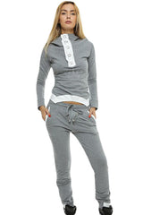 Gray Street Fashion Hooded Jogging Suit - Online Women Pant Sets