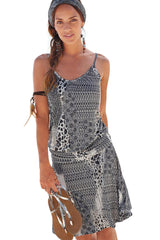 Gray Trendy Print Summer Dress