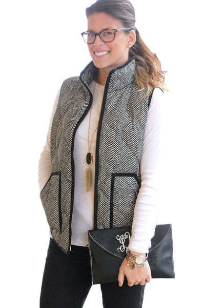 Gray Zipped Quilted Vest with Black Frame