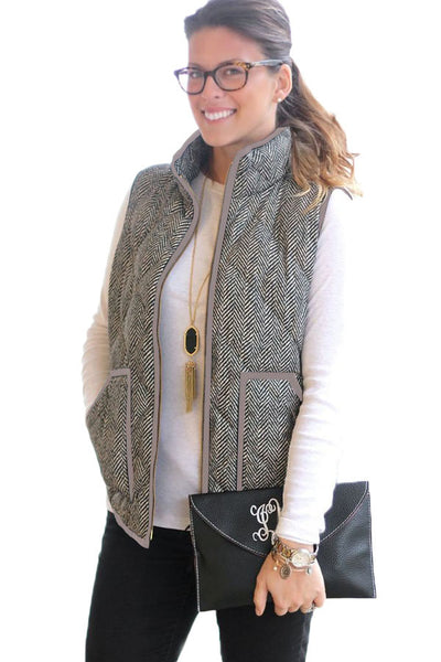 Gray Zipped Quilted Vest with Coffee Frame