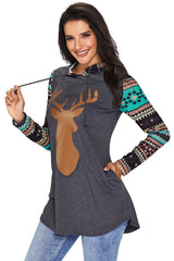 Christmas Suede Deer Patch Aztec Sleeve Pocket Hoodie - Online Women SWEATERS  & HOODIES