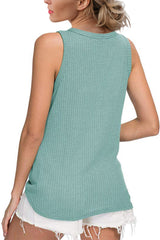 Green Waffle Knit Tie Knot Tank Top