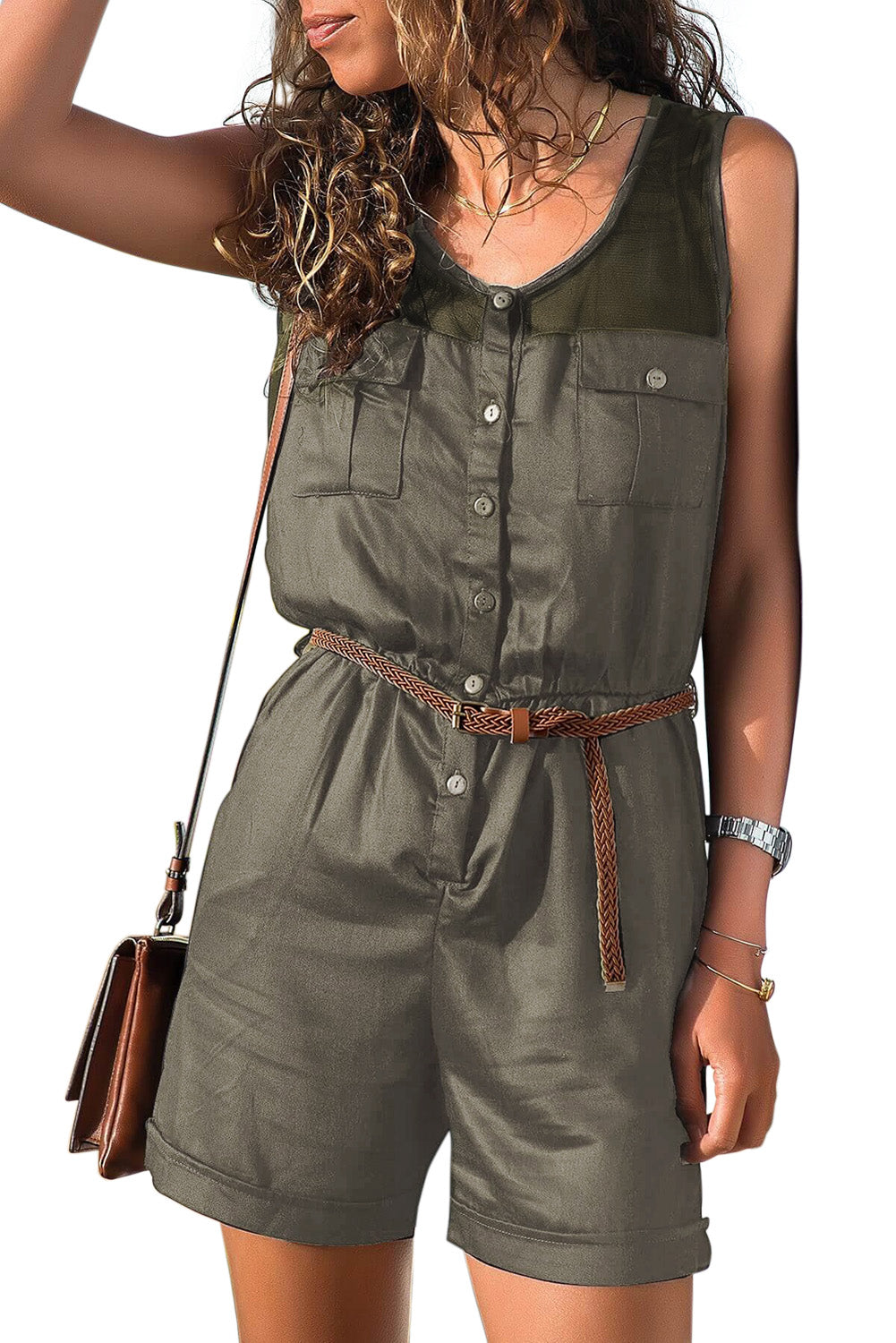 Green Yoke Buttoned Playsuit with Pockets