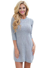 Cable Knit Fitted 3/4 Sleeve - Online Women Sweater Dress