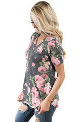 Grey Denim Floral V Neck Short Sleeve T-shirt - Online Women's T-Shirts Dresses