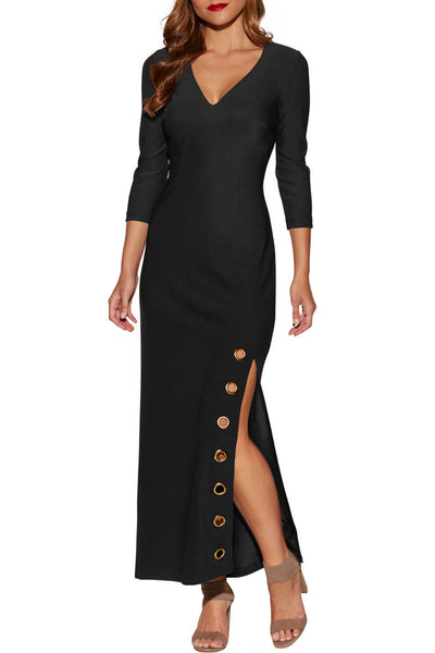 Grommet Side Slit Accent Black Maxi Dress