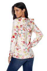 Hooded Floral Sweatshirt with Drawstring - Online Women SWEATERS  & HOODIES