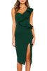 Hunter Green Asymmetric Ruffled One Shoulder Midi Dress
