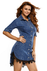Lace Trim Button Down Denim Shirt - Online Women Mini Dress