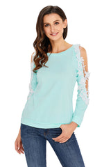 Lace Trim Cold Shoulder Long Sleeve Top - Online Women Tops