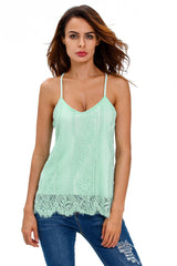 Light Blue Scalloped Lace Tank - Online Women Clubwear Top