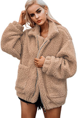 Light Brown Lamb Wool Zipped Chunky Coat