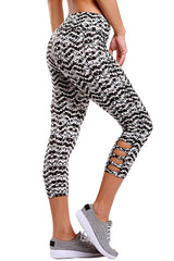 Light Monochrome Print Crisscross Detail - Online Women Leggings