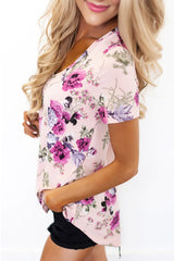 Lilac Floral V Neck Short Sleeve T-shirt - Online Women's T-Shirts Dresses
