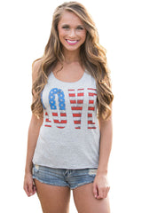 Love The Stars&Stripes Casual Grey Tank Top - Online Women Vests & Waistcoats Dresses