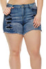Medium Blue Almost Famous Frayed Denim Shorts