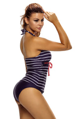 Nautical Striped 2pcs Halter Tankini Swimsuit - Online Women TANKINIS